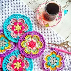 Crochet Motif, Crochet Flowers, Mandala, Blanket, Photo And Video, Inspiration, Instagram, Photos, Cookies