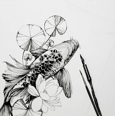 Tattoos And Body Art koi tattoo Art Koi, Fish Art, Kunst Tattoos, Body Art Tattoos, Fish Drawings, Art Drawings, Flower Drawings, Koi Fish Drawing, Drawing Flowers