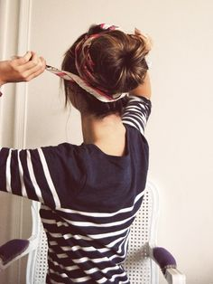 Ballerina bun: cut the end off a sock and roll it up to make a donut shape. Place it around your ponytail and tuck the ends around it, using bobby pins to secure. Super easy and cute!
