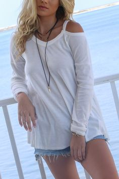 Blissful Off-White Flowy Open Shoulder High Low Top