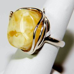 Sterling Silver Butterscotcth Baltic Amber Ring