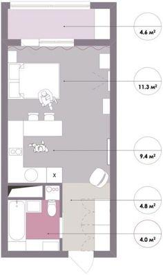 Alaprajz - 1. kis lakás pasztell színekkel - 30m2