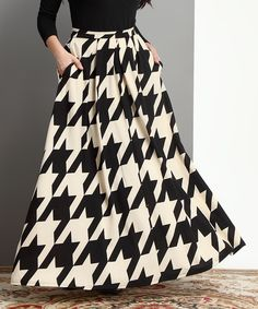 Look at this Black & White Houndstooth Maxi Skirt - Plus on #zulily today!