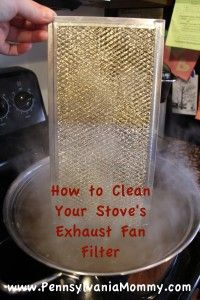 I did this this morning and it totally worked! It got ten years of grease of the exhaust filter!!! Half a cup of baking soda added a little at a time to the biggest pot of boiling water you can find. put filter and let it soak in the boiling water. RInse of--no scrubbing needed.
