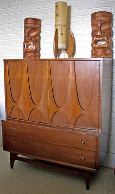 Mid-century + Tiki (I have this in a nightstand)