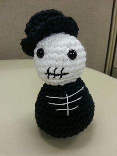 Skeleton groom.  Pattern from Creepy Cute Critters