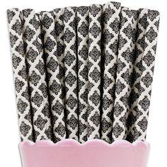 Black Damask Paper Straws