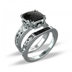 Retro-style Baroque Roses Inspired Black Stone Sterling Silver Ring Sets