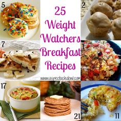 25 Weight Watchers BREAKFAST Recipes - A Spectacled Owl.  She has links to other lists as well. Lots of recipes in one place.