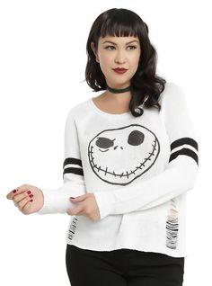 The Nightmare Before Christmas Jack Skellington Girls Destructed Sweater Plus Size, BLACK