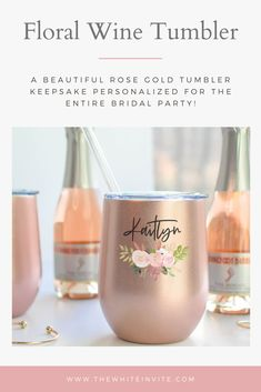 These beautiful wine tumblers  can be personalized with any sayings, or name. Perfect for your bridal or bachelorette party, these stemless rose gold wine tumblers are a stylish way of saying thank you to your bride tribe! Also lovely for bridal showers, rehearsal dinners or simply to say thank you to someone you love. Wine tumbler includes optional slide lid. #winetumblers #bacheloretteparty #rosegoldwedding #thankyougifts