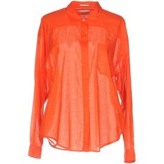 Maison Scotch Shirt (€50) ❤ liked on Polyvore featuring tops, orange, red cotton shirt, red long sleeve shirt, long-sleeve shirt, red shirt and long sleeve tops