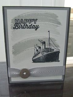 *Stampin' Up, by Amy Frillici, Gathering Inkspiration, order products online at amysuzanne.stampinup.net, traveler, birthday card, masculine, may paper pumpkin kit, basic metal buttons, smoky slate chevron ribbon, work of art,