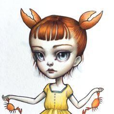 Cancer Zodiac Girl signed 8x10 pop surrealism by mabgraves