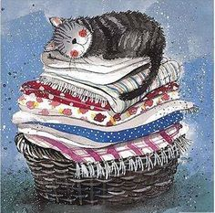 Cat Tea Towel by Alex Clark Art. Laundry Basket is made from cotton and gorgeousness. Perfect gifts for cat lovers at Tattypuss. I Love Cats, Crazy Cats, Cute Cats, Clark Art, Photo Chat, Cat Drawing, Whimsical Art, Cats And Kittens, Cat Lovers