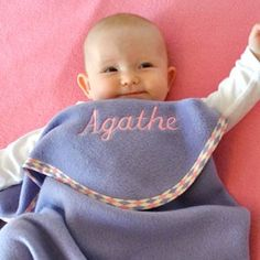 Baby pink spotty trim, script embroidery