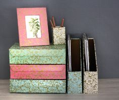 Choose your own mix of our prints and colours to brighten up your workspace or storage area. All our beautiful handmade stationery and storage products are produced in an eco-friendly way, from 100% recycled materials