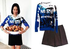 Total look by Kenzo inspired by Eva Chen, editor-in-chief of Lucky Mag. Sweatshirt No Fish No Nothing + Shorts.  http://www.farfetch.com/es/shopping/arropame/women/items.aspx#ps=1&pv=60&oby=5&lsf=1&f1d0=8880