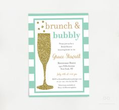 Brunch and Bubbly Bridal Shower Invitation Gold by DearHenryDesign