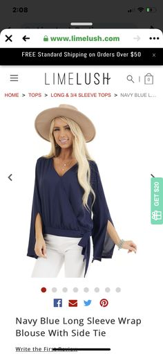 Navy Blouse, Blue Ties, Long Tops, Navy Tops, White Jeans, Sleeves, Pants, Fashion, Navy Blue Blouse