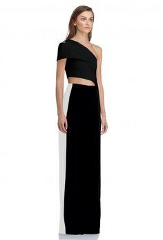 Image 1 of AQ/AQ Corinna Wide Leg High Waist Trousers with Stripe Sides · Black / White