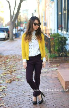 Such a bright and refreshing combination of the yellow cardigan and white polka-dot shirt worn by Linda of NomNomBlingBling