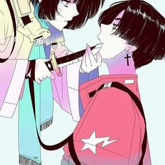 Thank you all for this ❤ I don't have the coolest artwork of the world today but I liked this cutie couple, its just a gift for this… Aesthetic Art, Aesthetic Anime, Manga Art, Anime Art, Art Sketches, Art Drawings, Arte Indie, Fanarts Anime, Cyberpunk Art