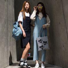 Street style: Joo Hee Jeong and Bae Yoon Young at Seoul Fashion Week Fall 2015 shot by Joo Min Hu