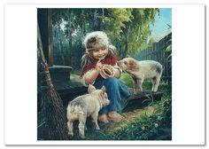 KIDS ART ~ LITTLE GIRL /& BOY Cat Winter Fishing Russian Ethnic Modern postcard