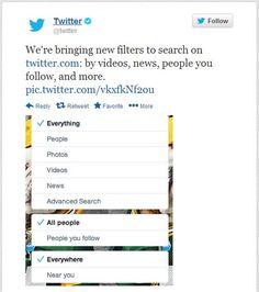 Twitter anunció nuevos filtros en su buscador, entre otros por vídeos, noticias y usuarios que siguen