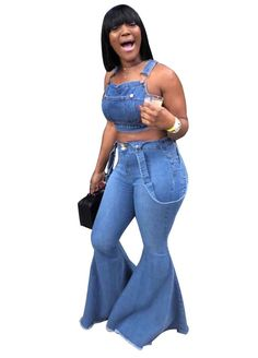 Womens High Waisted Denim Flare Pants Plus Size Slim Butt Lift Bell Bottom Ripped Stretchy Jeans Pants Distressed Adjustable Strap Bib Overalls