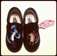 Regular show vans! Custom Vans Shoes, Custom Sneakers, Kid Shoes, Me Too Shoes, Mordecai Y Rigby, Painted Shoes, Painted Vans, Cartoon Shoes, Regular Show
