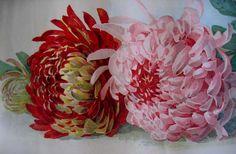 c1900 Paul de Longpre Chrysanthemums Yard Long Print Signed by Book from victorianroseprints on Ruby Lane