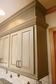 Beadboard Kitchen Makeover Old Cabinets With Crown Molding Cabinet Moulding