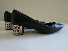 TORY BURCH 'Bea' Leather Navy Blue Gold Logo Block Heel Ballet Round Tow 7.5