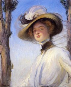 Edmund C. Tarbell (American 1862–1938) [Impressionism, Portrait, The Ten] The Picture Hat (1901) Private Collection. – The Athenaeum
