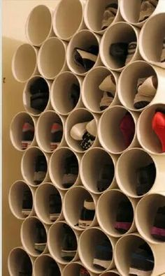 Organize shoes in PVC pipes