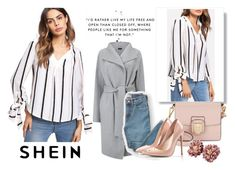 """""""SHEIN Bow Tied Cuff Vertical Striped Blouse"""" by shakira96 ❤ liked on Polyvore featuring Everlane and Sam Edelman"""