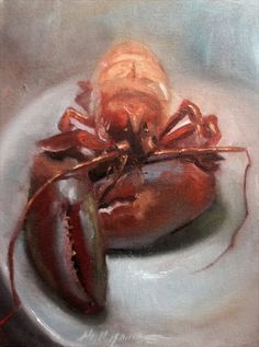 Red Lobster Restaurant Dinner 9 12 in. Original Oil on canvas, painting by artist Hall Groat II