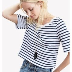 NWOT Banana Republic Striped Cropped Tee!! This Banana cropped, striped tee is so perfect for Spring and Summer! You need it! Banana Republic Tops Tees - Short Sleeve