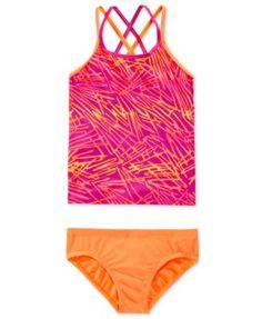 8cf23b2fb9 Nike Girls  2-Piece Flux Spiderback Tankini Swimsuit Kids - Swimwear -  Macy s