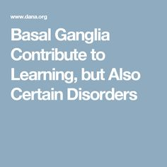 Basal Ganglia Contribute to Learning, but Also Certain Disorders