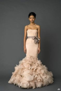 strapless mermaid pink designer wedding dress 2012 with floral bottom