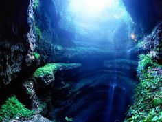 Cave of Swallows, Aquismon Mexico. 2nd deepest cave in Mexico and 11th in the world. It has a freefall of 333 m from the floor of cave to the lowest side of opening, with a 370 m drop from highes side.