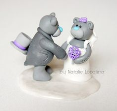 Teddy bears wedding cake topper, Handmade bride and groom, Teddy bears, Custom cake topper, Cute couple, Personalized figurines