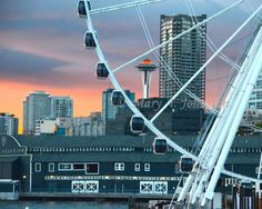 Seattle's Big Wheel and Iconic Space Needle   8x10 by MEObyMary, $15.00
