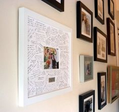 Personalised Wedding Guest Book Frame - WHITE - Contemporary alternative to the traditional guest book (White-White-Landscape)
