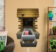 Minecraft 3 D Vinyl Wall Cling Graphics Steve Pig Mining 2 Pack Movable Reusable Minecraft House Tutorials, Minecraft House Designs, 3d Wall Art, Vinyl Wall Art, Wall Stickers Home Decor, Vinyl Wall Stickers, Bedroom Themes, Bedroom Decor, Bedroom Ideas