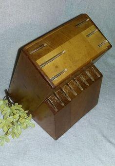 $.99 Wood Knife Holder Block 2 tiers 14 slot vintage