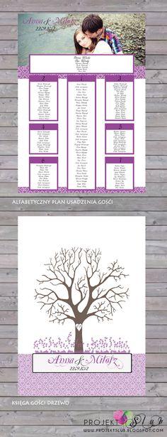 projekt ŚLUB - zaproszenia ślubne, oryginalne, nietypowe dekoracje i dodatki na wesele: fiolet